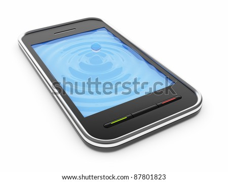 Black mobile smart phone with watery blue screen 3D. Icon. Isolated on white