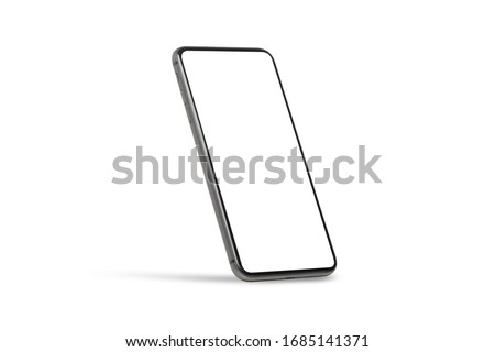 Black mobile smartphone mockup with blank screen isolated on white background with clipping path, Can use mock-up for your application or website design project.