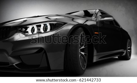 Black modern car headlights close up scene (with grunge overlay), generic brand less - 3d illustration