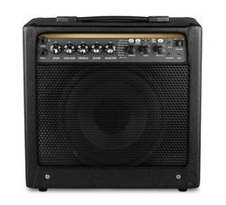 black modern electric guitar amp modelling amplifier isolated on white background rock heavy metal studio instrument concept