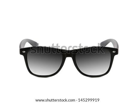 Black modern eyeglasses isolated on a white background