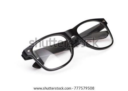 black modern glasses isolated on white background