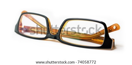 Black modern glasses isolated on white background. Shallow deep of field.