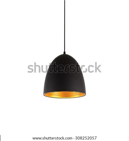 Shutterstock Black modern hanging lamp on background white
