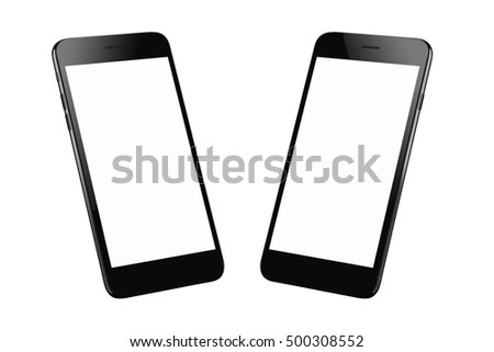 Black modern smart phone isolated. Two isometric positions. Blank screen for mockup.