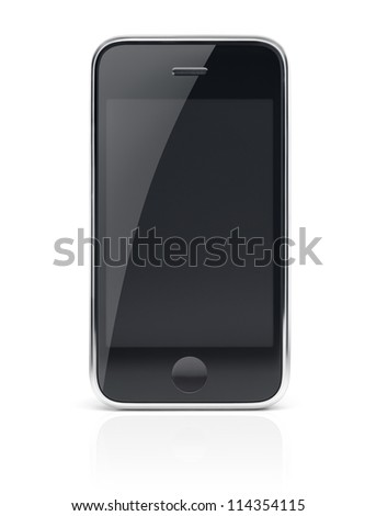 Black modern smartphone, cell phone with clear screen isolated with clipping path on white background