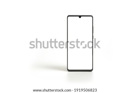 Black modern smartphone mockup. Mobile smart phone technology front blank screen studio shot isolated on over white background with clipping path ストックフォト ©
