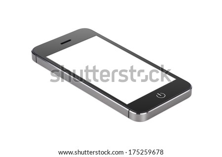 Black modern smartphone with blank screen lies on the surface, isolated on white background. Whole image in focus, high quality.