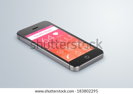 Black modern smartphone with health book app on the screen lies on the gray surface.