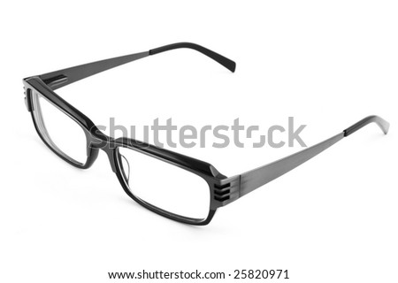 Black modern spectacles isolated on white background