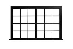 Black modern window on white background. Architectural element