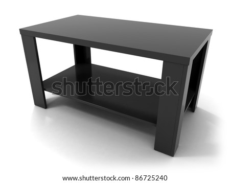 Black Modern Wood Table Isolated on White