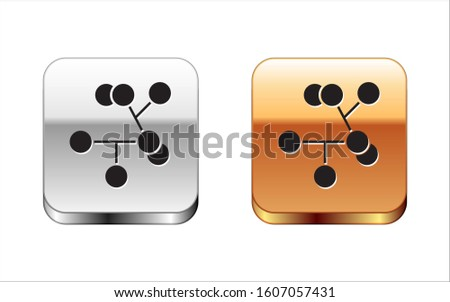 Black Molecule icon isolated on white background. Structure of molecules in chemistry, science teachers innovative educational poster. Silver-gold square button.