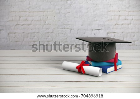 Black mortarboard, books and diploma placed on wooden surface and brick wall background. Education concept. 3D Rendering