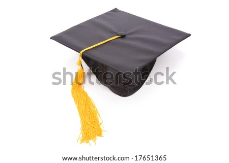 Black Mortarboard with white background - stock photo
