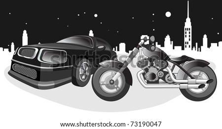 black motorcycle and a car at night, road sign and landscape of the city.