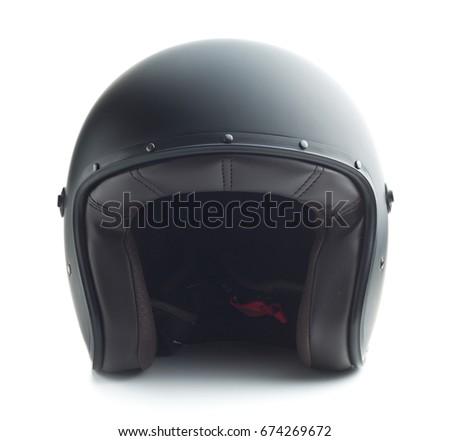 Black motorcycle helmet isolated on white background. #674269672