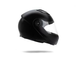 Black motorcycle helmet on white background