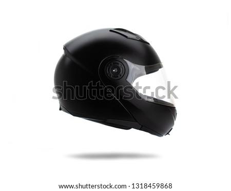 Black motorcycle helmet on white background #1318459868
