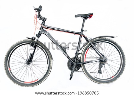 Black mountain bike isolated on a white background - stock photo