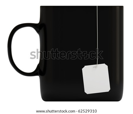 Black mug, cup, blank label, isolated on white, 3d illustration