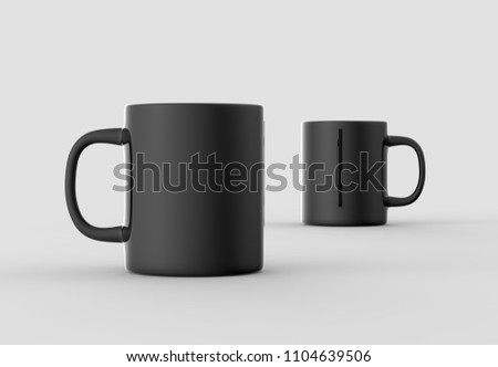 Black mug mock up isolated on light gray background. 3D illustration