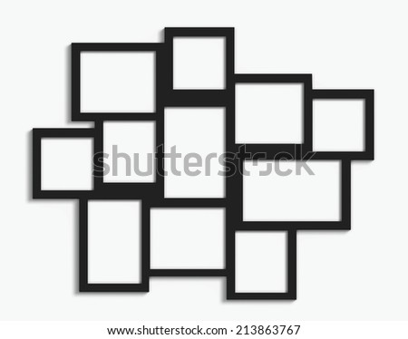 Black multiple frames with different sizes on white wall
