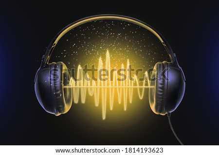 Black music headphones and sound waves with glow