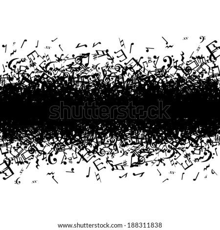 Black music notes border on white background