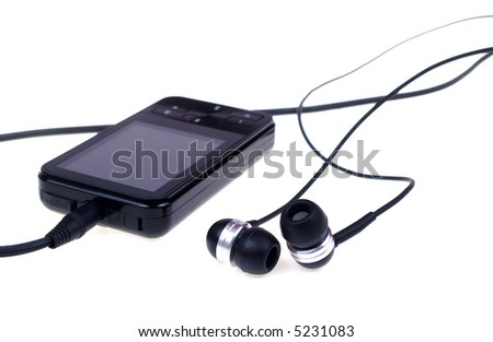 Black music player isolated