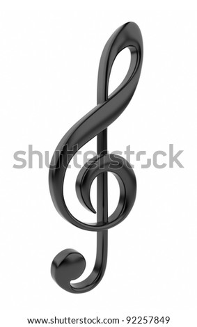 Black musical note 3D. Icon isolated on white background