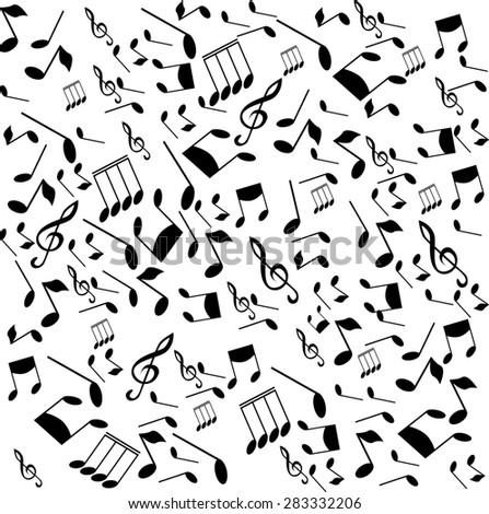 black musical notes on a white background