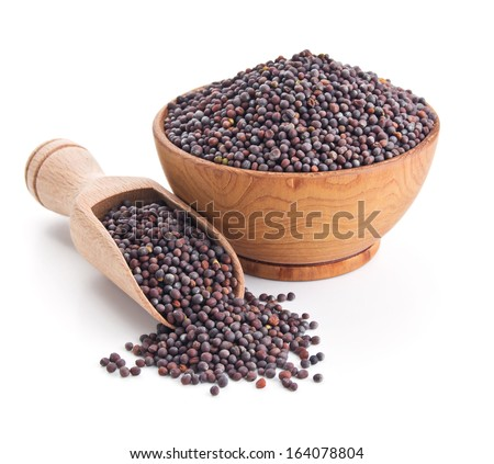 black mustard seeds isolated on white background #164078804