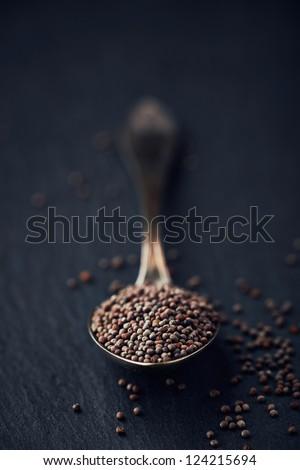 Black mustard seeds on a spoon
