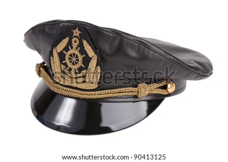 Black navy cap with the golden emblem of an anchor on a white background