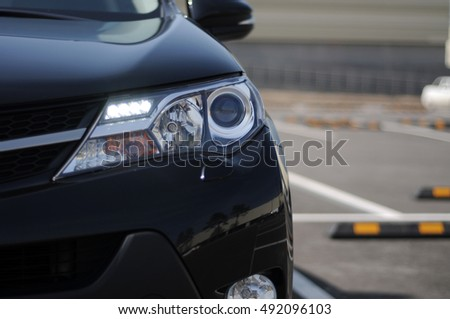 Black new japanese suv car auto in details