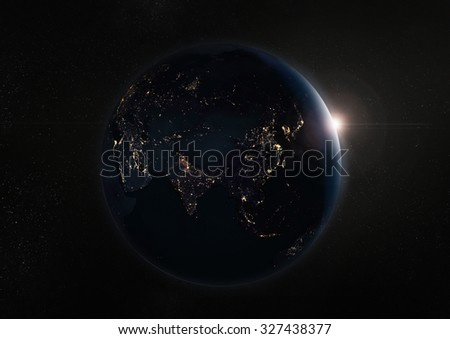 Black night earth and galaxy.Elements of this image furnished by NASA.