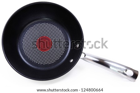 Black Non-Stick Frying Pan Isolated On White Background