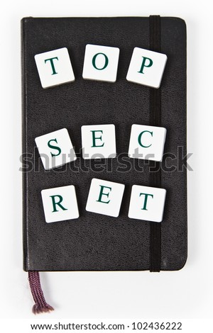 black notepad with top secret letters