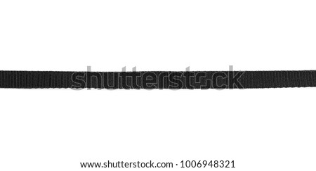 Black nylon belt, strap isolated on white background
