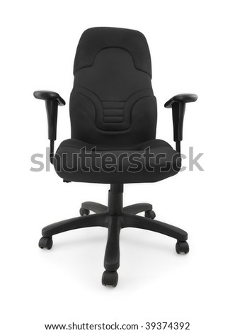 Black office chair isolated on white, clipping path included.