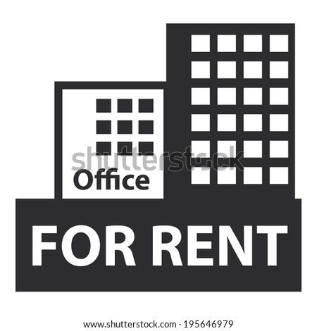 Black Office For Rent Icon, Sign or Label Isolated on White Background