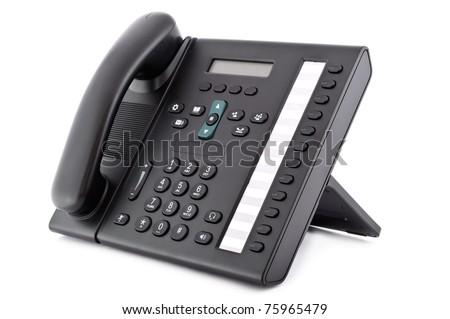 Black office IP Phone isolated on white background