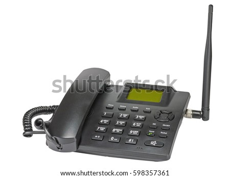 black office radiotelephone isolated on white background - Shutterstock ID 598357361