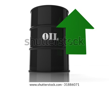 Black oil barrel with green upwards arrow isolated on white background