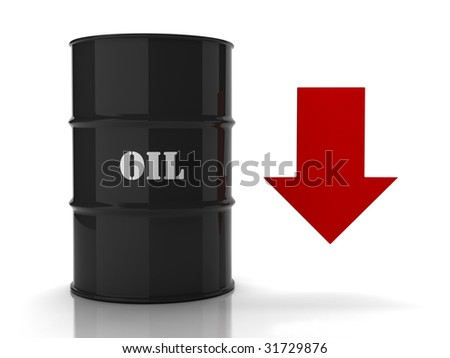 Black oil barrel with red downwards arrow on white background