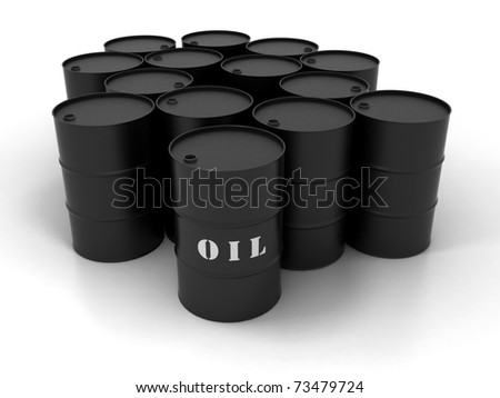 Black Oil Barrels Isolated on White