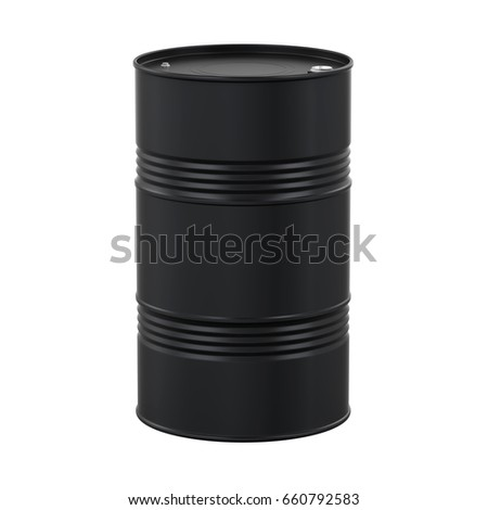 Black Oil Drum Isolated. 3D rendering