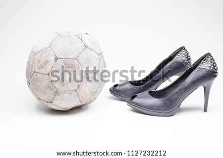 731c7ccf070c black old ladies shoe on high heels on a white background whit an leather  football
