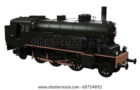 black old locomotive isolated on white background
